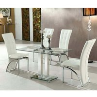 Jet Small Clear Glass Dining Table With 4 Ravenna White Chai