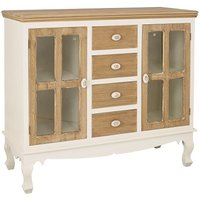 Julian Sideboard In Cream And Distressed Wooden Effect