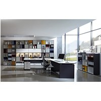 Product photograph showing Linea Set A Office Room Furniture In Anthracite White