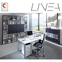 Product photograph showing Linea Set B Office Room Furniture In Anthracite White