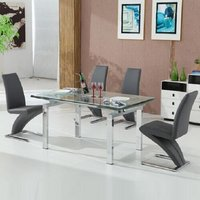 Jessi Extendable Dining Table In Clear Glass And 6 Grey Z Ch