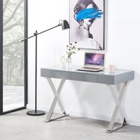 image-Mayline Laptop Office Computer Desk In High Gloss Grey