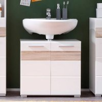Mezzo Vanity Cabinet In White With Gloss Front And Light Oa