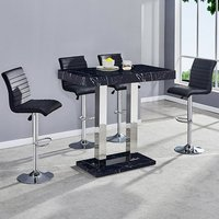 Milano Marble Effect Gloss Bar Table 4 Ripple Black Bar Stool