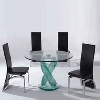 Monaco 4 Seater Dining Set In Clear Glass With Oslo Black Ch
