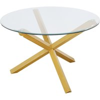 Oporto Plus Large Glass Top Dining Table In Solid Oak
