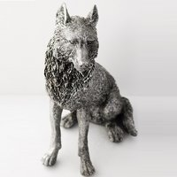 Product photograph showing Sitting Wolf Sculpture