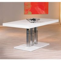 Product photograph showing Palzo Wooden Dining Table In White High Gloss With Chrome Base