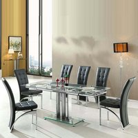 Rihanna Extending Glass Dining Table With 6 Ravenna Black