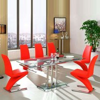 Rihanna Extending Glass Dining Table With 6 Demi Red Chairs