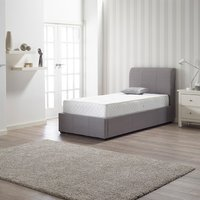 Newton Storage Single Bed In Grey Linen Fabric