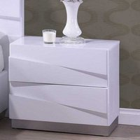 Stirling Bedside Cabinet In White High Gloss With 2 Drawers
