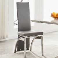 Product photograph showing Romeo Grey Faux Leather Dining Chair With Chrome Legs