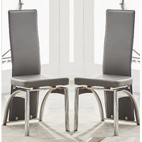 Product photograph showing Romeo Grey Faux Leather Dining Chairs With Chrome Legs In Pair