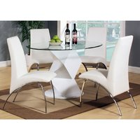 Aruba Gloss White Clear Glass Top Dining Table And 4 Chairs