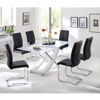 Samova Glass Dining Table In Gloss White With 6 Tavis Chairs