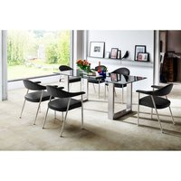 Sayona Glass Dining Table In Grey With 6 Aurelia Dining Chai