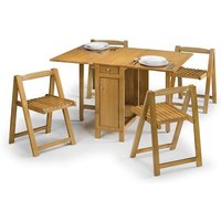 Selina Dining Set In Natural Oak With 4 Folding Chairs