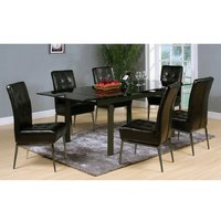 Sherbourne Black Glass Top Extending Dining Table And 6