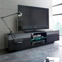 Product photograph showing Sienna Tv Stand In Black High Gloss With Multi Led Lighting