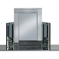 Elena Dressing Table Mirror In Silver With Triple Bar