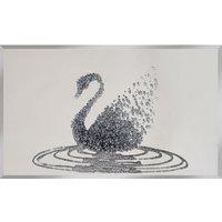Peyton Glass Wall Art In Silver Glitter Swan On Mirror