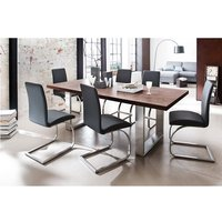Savona Dining Table In Rust With 6 Maui Dining Chairs