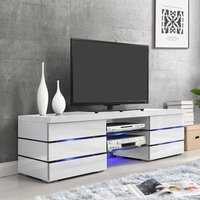 Product photograph showing Svenja Media Tv Stand In High Gloss White With Blue Led Lights