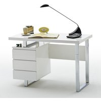 Sydney Computer Desk In White High Gloss With 3 Drawers