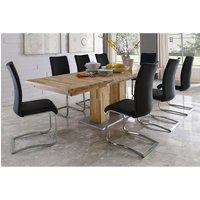 Turin Extendable Dining Table In Core Beech With 8 Arco Chairs