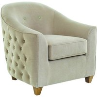 Product photograph showing Saldus Armchair In Cream Fabric With Wooden Legs