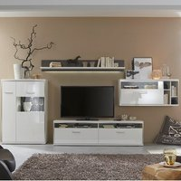 Libya Living Room Set 1 In White High Gloss With LED Lighting