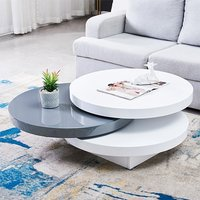 Triplo Gloss Rotating Round Coffee Table In White And Grey