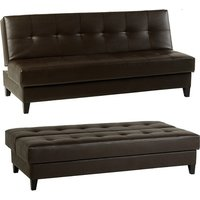 Tanya Faux Leather Brown Sofa Bed