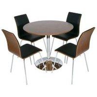 Verona Round Walnut Dining Table And 4 Rimini Walnut Black Chair