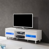 image-Zedan LCD TV Stand In White Gloss With LED Lights