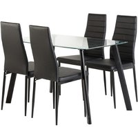 Product photograph showing Abbey Clear Glass Dining Table With 4 Black Leather Chairs