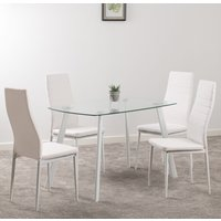 Product photograph showing Abbey Clear Glass Dining Table With 4 White Leather Chairs