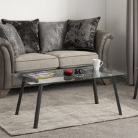 Product photograph showing Abbey Clear Glass Top Coffee Table With Grey Metal Legs
