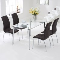 Product photograph showing Muncol Glass Dining Table In Clear With 4 Gala Brown Chairs