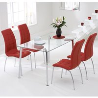 Product photograph showing Muncol Glass Dining Table In Clear With 4 Gala Red Chairs