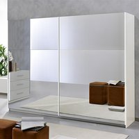 Product photograph showing Abby Medium 2 Mirrored Doors Wooden Wardrobe In White