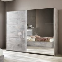 Product photograph showing Abby Mirrored Sliding Wardrobe Large In Grey Marble Effect Gloss