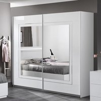 Product photograph showing Abby Mirrored Sliding Wardrobe In White High Gloss With 2 Doors