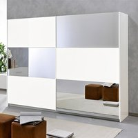 Product photograph showing Abby Mirrored Sliding Wooden Wardrobe In White