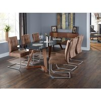 Abena Extendable Glass Dining Table With 6 Farren Chairs