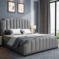 Product photograph showing Abilene Plush Velvet King Size Bed In Grey