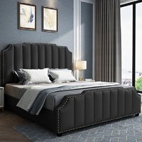 Abilene Plush Velvet Single Bed In Black