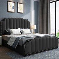 Product photograph showing Abilene Plush Velvet Super King Size Bed In Black