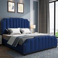 Product photograph showing Abilene Plush Velvet Super King Size Bed In Blue